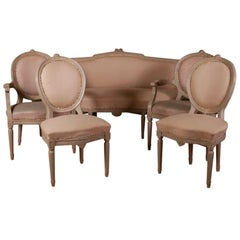 19th Century Swedish Salon Sofa and Four Chairs