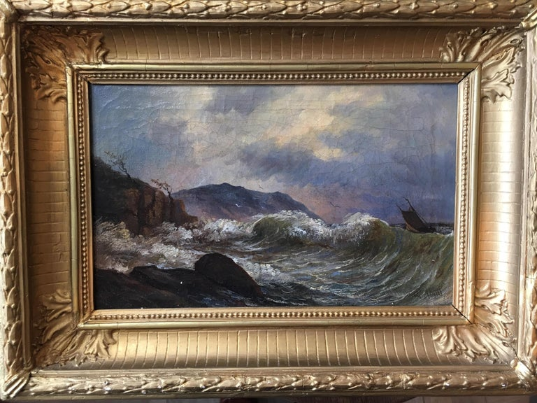 Stunning little 19th century seascape by Valfrid Nilsson. A wonderful moody piece with bruised sky and high seas, in beautiful shades of mauve, blues, and grays. A perfect piece to complement a library or study interior. Oil on canvas. 1880.