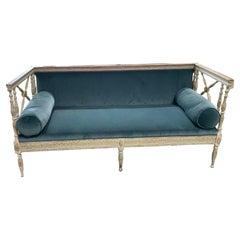 19th Century Swedish Sofa with Gilt and Rich Blue Schumacher Velvet