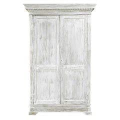 19th Century Swedish Whitewashed Pine Armoire