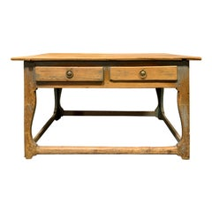19th Century Swedish Scrubbed Pine Work Table with Old Blue Paint, Five Drawers