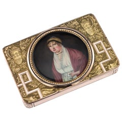 19th Century Swiss 18 Karat Gold and Enamel Snuff Box with Miniature, circa 1810