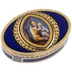 19th Century Swiss 18-Karat Gold and Enamel Snuff Box, Guidon, Gide and Blondet