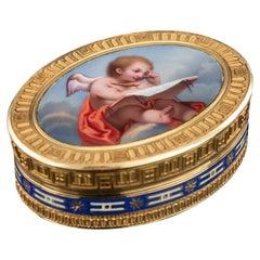 19th Century Swiss 18k Gold & Enamel Vinaigrette by Jean-Georges Rémond, c. 1800