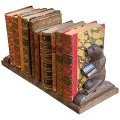 19th Century Swiss Black Forest Book Ends with 11 Antique Books