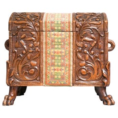19th Century Swiss Black Forest Carved Dowry Chest or Trunk with Needlework
