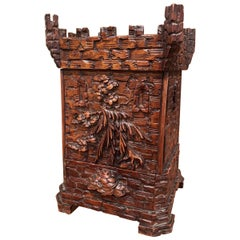 19th Century Swiss Black Forest Carved Walnut Cigar Box