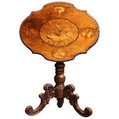 19th Century Swiss Black Forest Carved Walnut Tilt-Top Table with Hunt Scenes