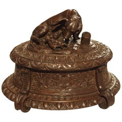 19th Century Swiss Black Forest Jewelry or Valuables Box with Dog and Puppies