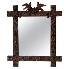 19th Century Swiss Carved Walnut Black Forest Mirror