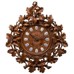 19th Century Swiss German Carved Black Forest Wall Clock with French Mechanism