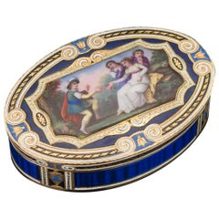 19th Century Swiss Gold and Hand Painted Enamel Snuff Box, circa 1800