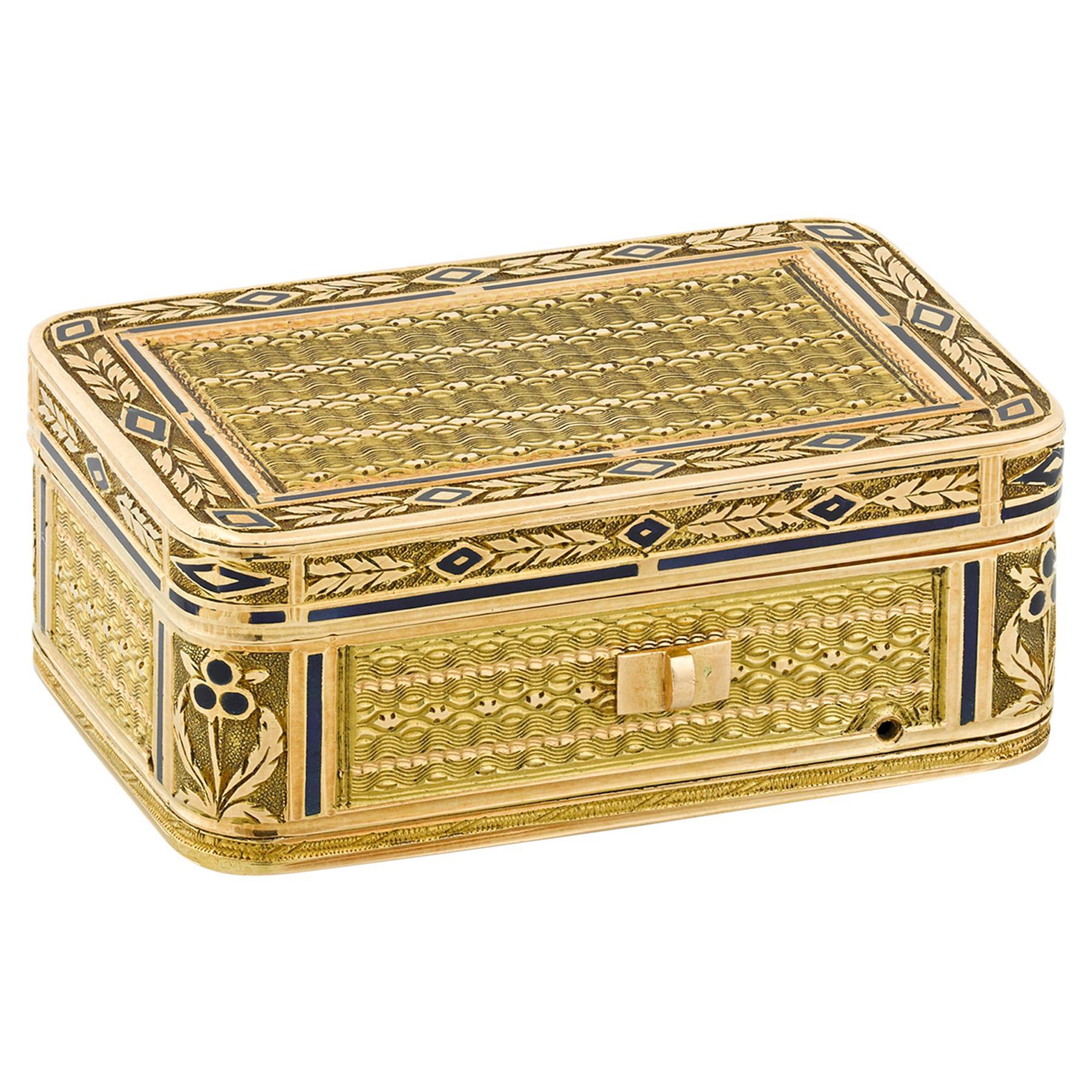 19th Century Swiss Gold Musical Vinaigrette