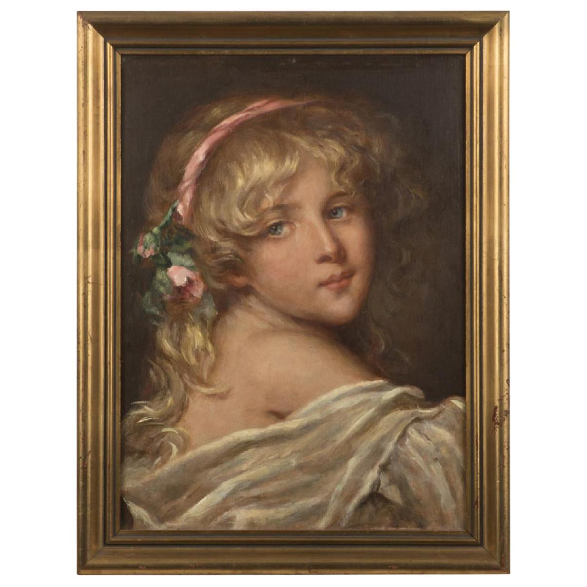 19th Century Swiss Oil on Board Painting of Blonde Girl