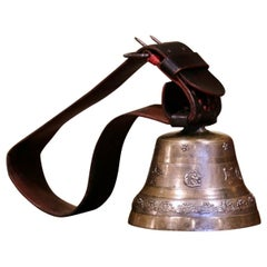 19th Century Swiss Signed Bronze Cow Bell with Original Leather Strap and Buckle