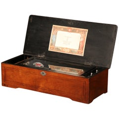 19th Century Swiss Wood Inlaid and Ebonized Cylinder Music Box with Ten Songs