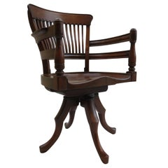 19th Century Swivel Office Desk Chair in Walnut by E W Godwin