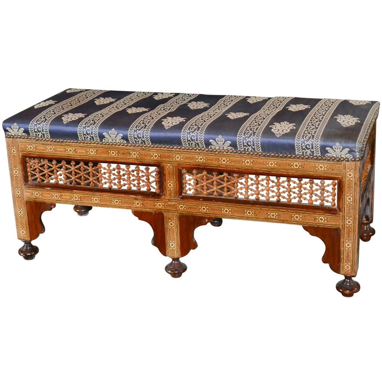 Superb 19Th Century Syrian Inlaid Bench Lamtechconsult Wood Chair Design Ideas Lamtechconsultcom