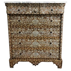 19th Century Syrian Mother of Pearl Inlaid Cedar Marble-Top Chest