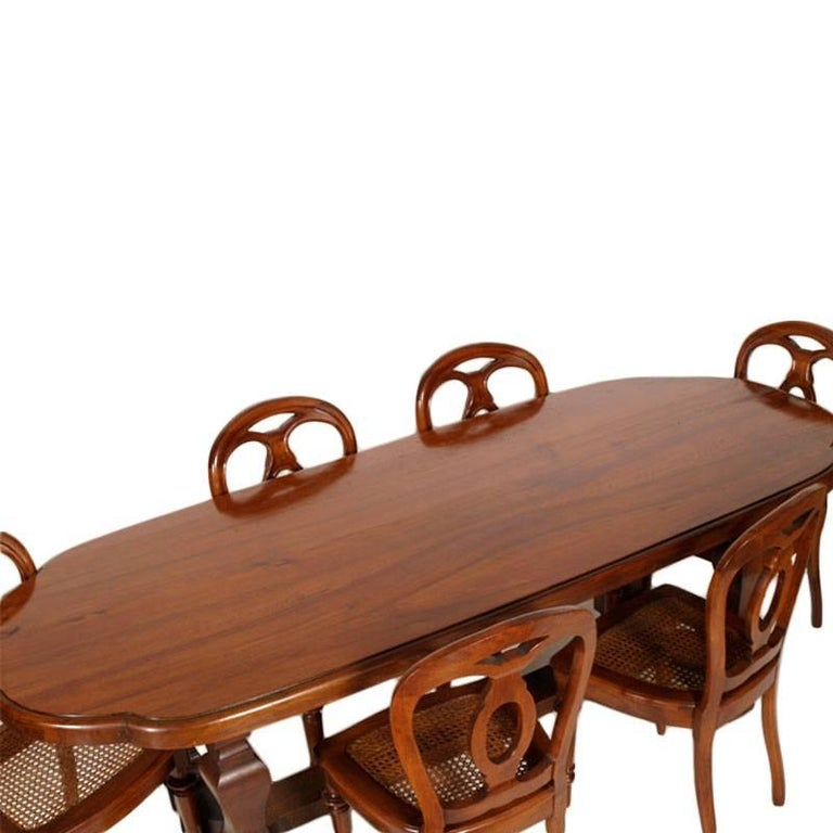 Baroque Revival 19th Century Table & Chairs Renaissance Baroque Style Solid Walnut Restored For Sale