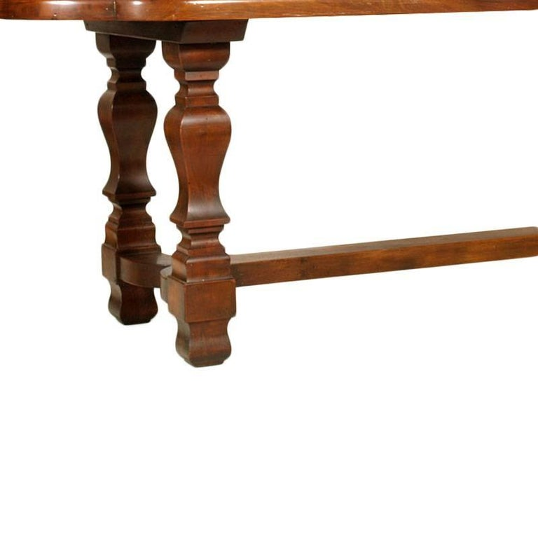 Italian 19th Century Table & Chairs Renaissance Baroque Style Solid Walnut Restored For Sale