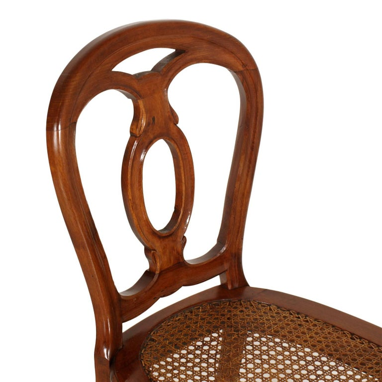 Straw 19th Century Table & Chairs Renaissance Baroque Style Solid Walnut Restored For Sale