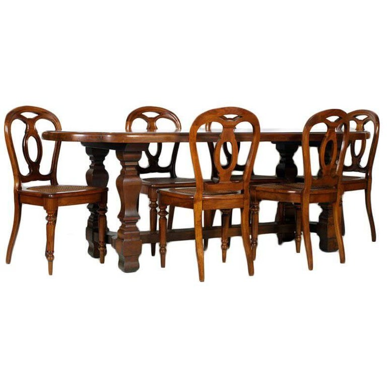 19th Century Table & Chairs Renaissance Baroque Style Solid Walnut Restored For Sale