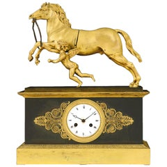 19th Century Table Clock Gilded Burnished Bronze Charles X Enamel Dial, 1830s