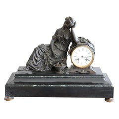 19th Century Table Clock in Black Marble and Bronze