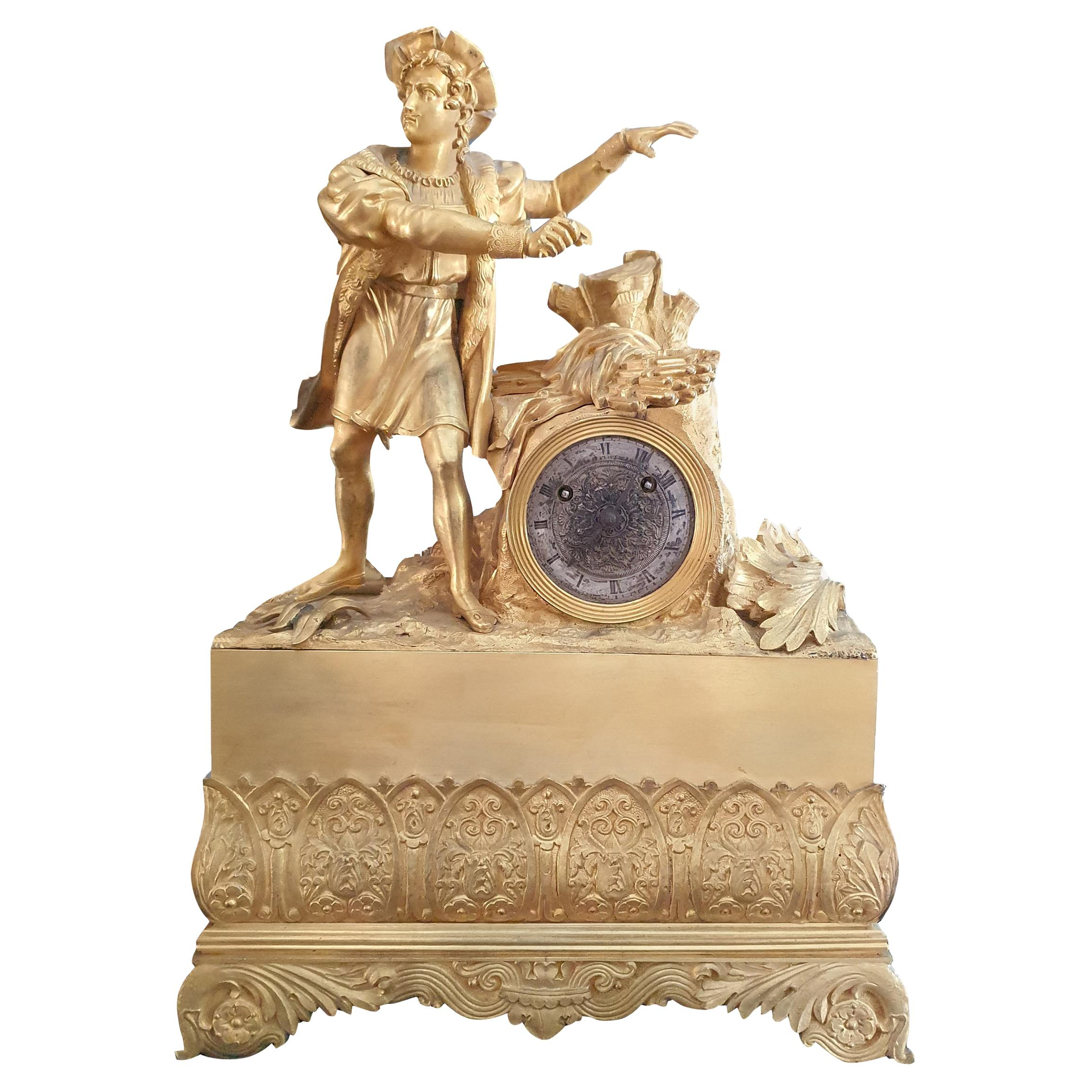19th Century Table Clock in Finely Chiseled Gilt Bronze