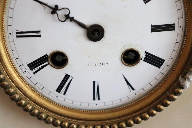 Late 19th Century 19th Century Table Clock in White Marble and Gilded Bronze For Sale