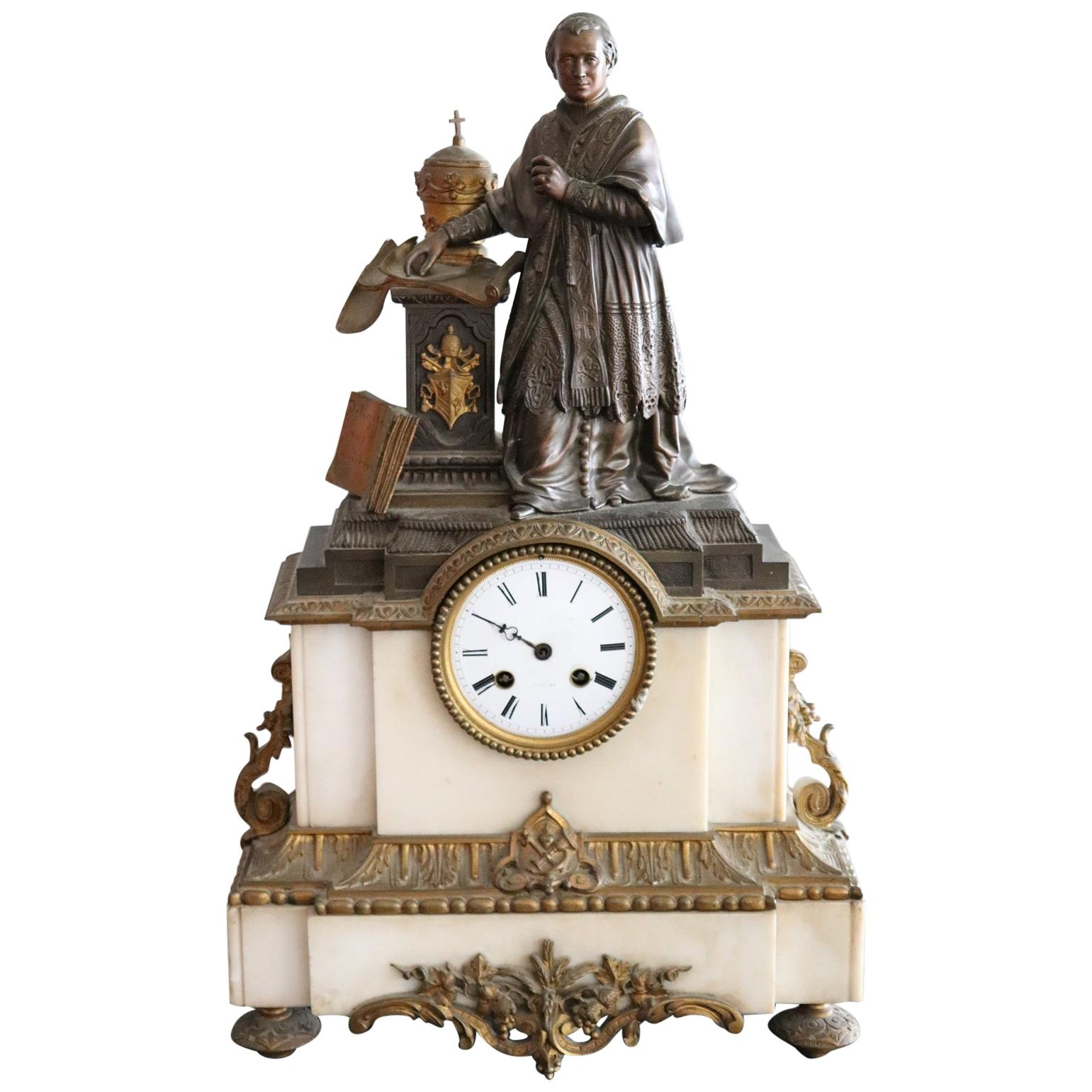 19th Century Table Clock in White Marble and Gilded Bronze