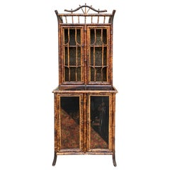 19th Century Tall Bamboo and Chinoiserie Cabinet with Glass Doors, circa 1880