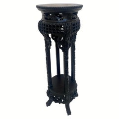 19th Century Tall Chinese Carved Hardwood Flower Stands Table Marble-Top Insert