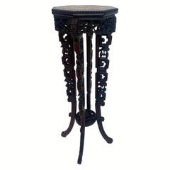 19th Century Tall Chinese Caved Hardwood Flower Stand Marble Top Insert
