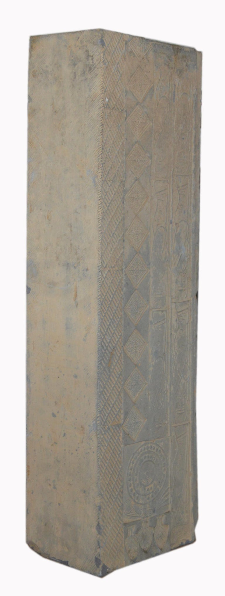 19th Century Tall Chinese Hand-Carved Stone Temple Decoration Pedestal Planter For Sale 3
