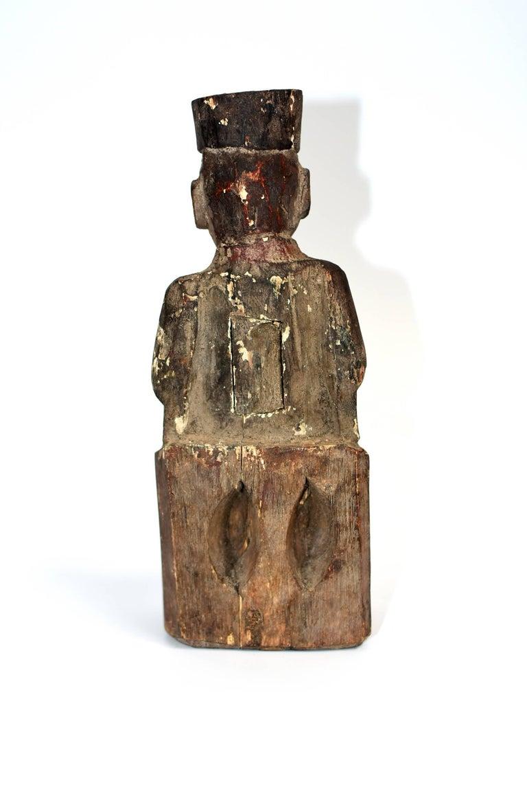 19th Century Taoist Master Wood Statue For Sale 9