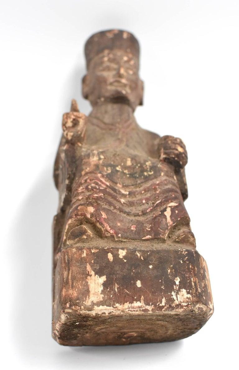 19th Century Taoist Master Wood Statue For Sale 12