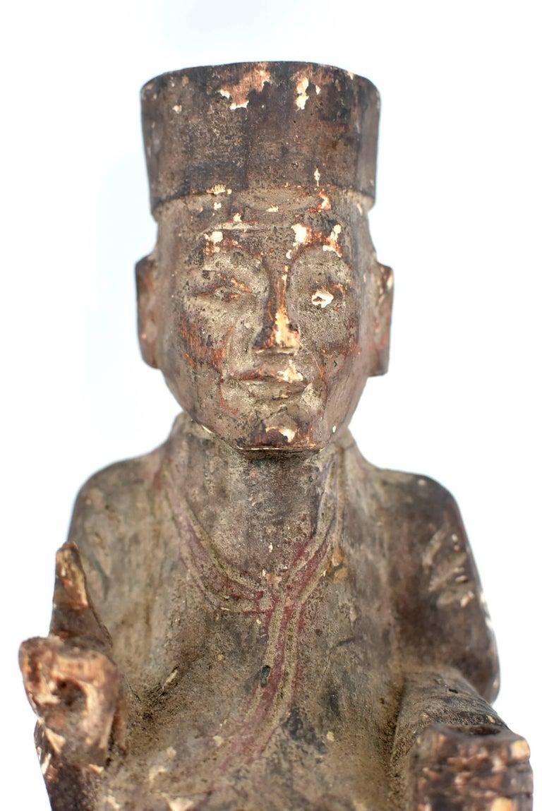 19th Century Taoist Master Wood Statue For Sale 13