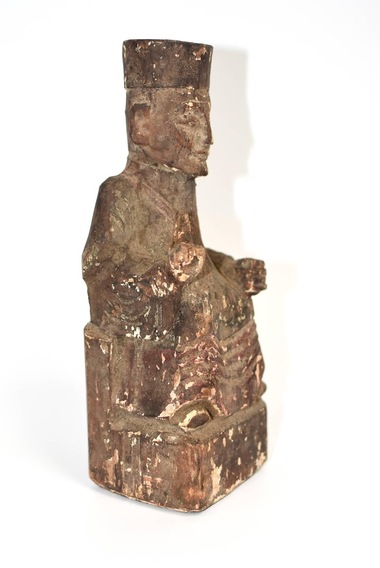 Hand-Carved 19th Century Taoist Master Wood Statue For Sale