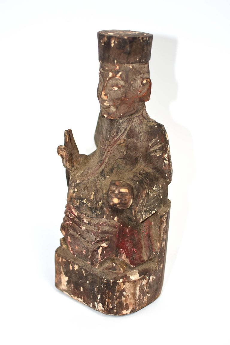 19th Century Taoist Master Wood Statue In Good Condition For Sale In Somis, CA