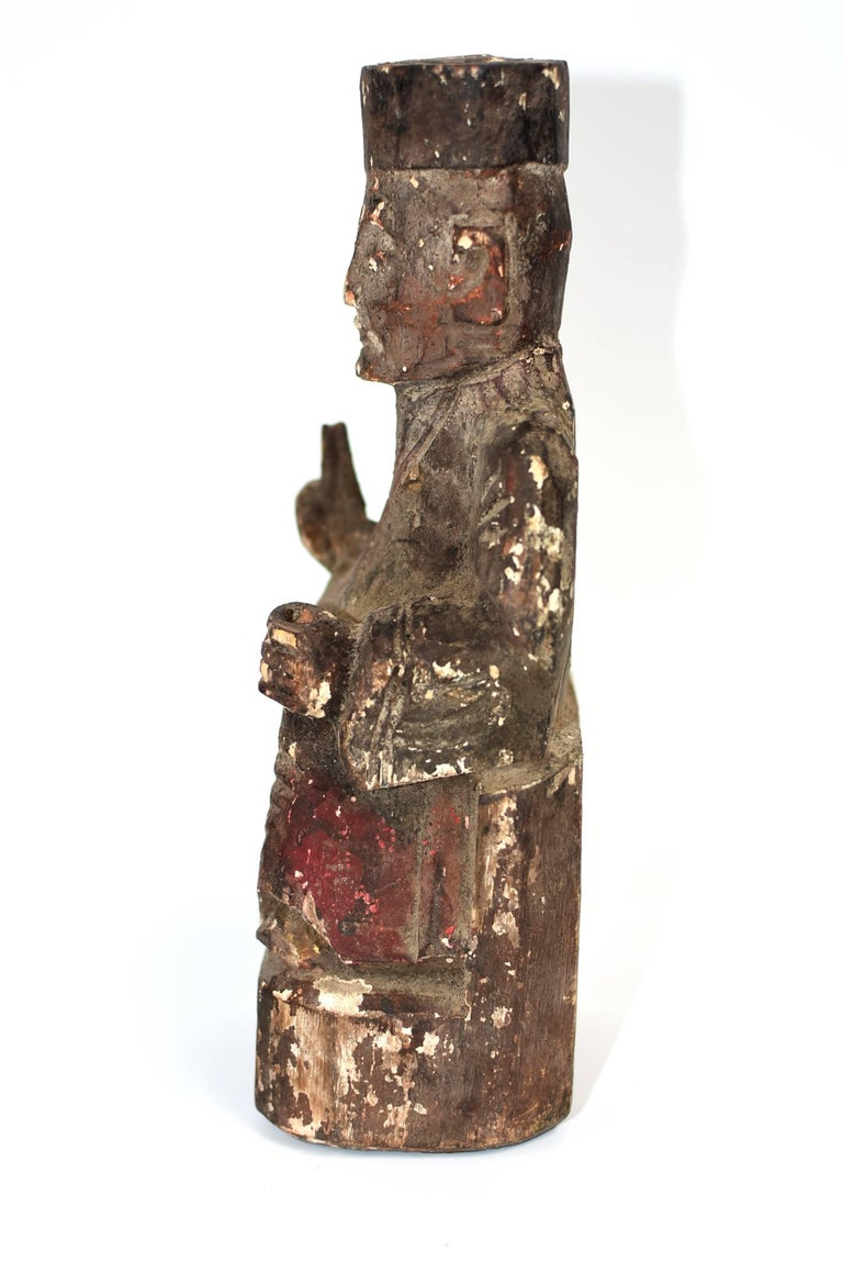19th Century Taoist Master Wood Statue For Sale 1