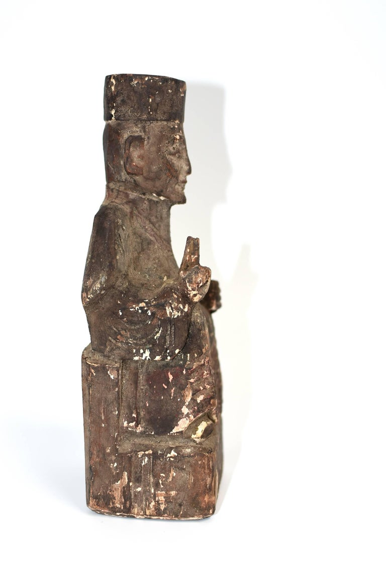 19th Century Taoist Master Wood Statue For Sale 2