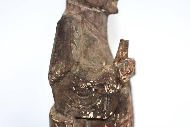 19th Century Taoist Master Wood Statue For Sale 4