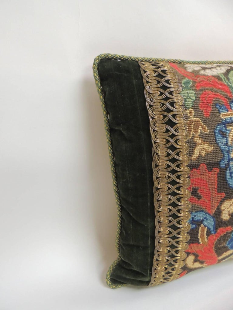 Hand-Crafted  19th C. Tapestry Decorative Pillow with Gold Metallic Trims For Sale