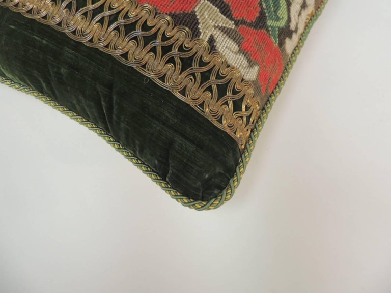 19th C. Tapestry Decorative Pillow with Gold Metallic Trims In Good Condition For Sale In Oakland Park, FL