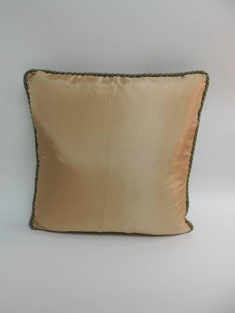 19th Century  19th C. Tapestry Decorative Pillow with Gold Metallic Trims For Sale