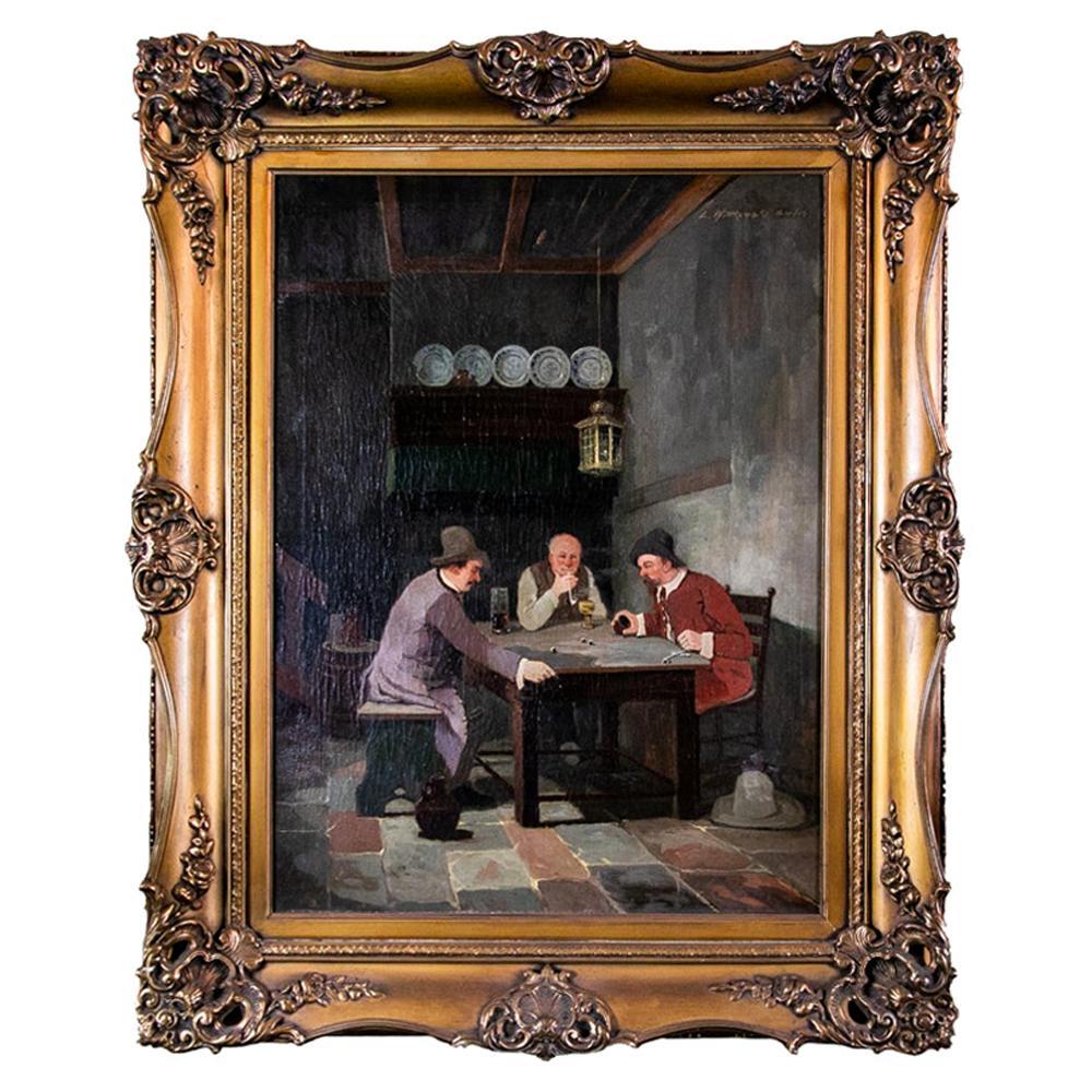19th Century Tavern Scene Oil Painting by L. Wittkowski