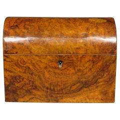 19th Century Tea Caddy in Burl Walnut with Matching Caddy Spoons, Circa 1860