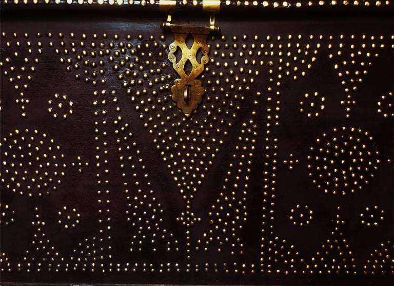 19th Century Teak Brass-Studded Zanzibar Chest In Good Condition For Sale In Brooklyn, NY